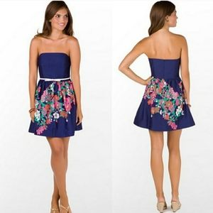 Lilly Pulitzer Navy Floral Strapless Lottie Dress